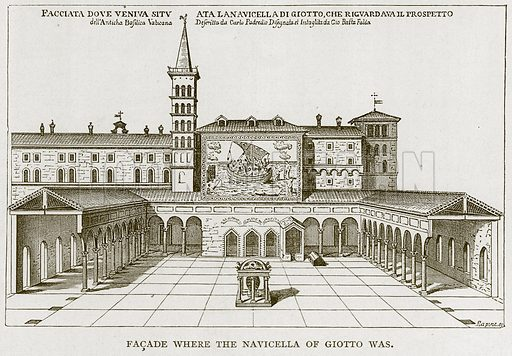 Facade where the Navicella of Giotto was. Illustration for Rome by Francis Wey (Chapman and Hall, 1875).