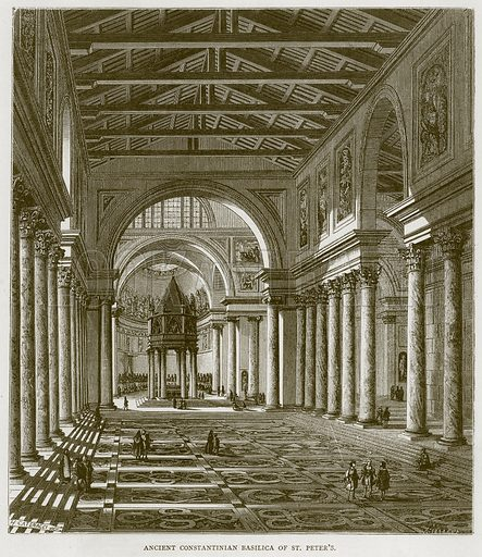 Ancient Constantinian Basilica of St Peter's. Illustration for Rome by Francis Wey (Chapman and Hall, 1875).