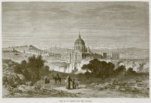 View of St Peter's and the Vatican. Illustration for Rome by Francis Wey (Chapman and Hall, 1875).