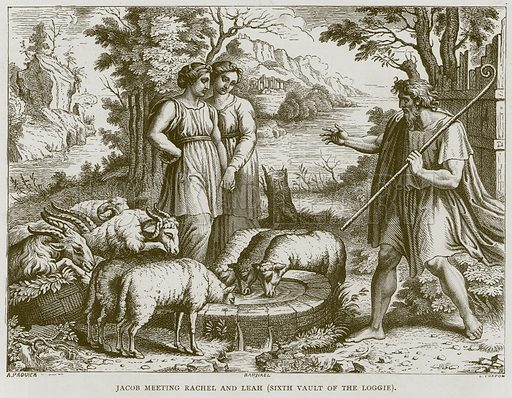 Jacob Meeting Rachel and Leah (Sixth Vault of the Loggie). Illustration for Rome by Francis Wey (Chapman and Hall, 1875).