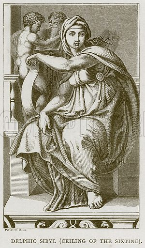 Delphic Sibyl (Ceiling of the Sixtine). Illustration for Rome by Francis Wey (Chapman and Hall, 1875).