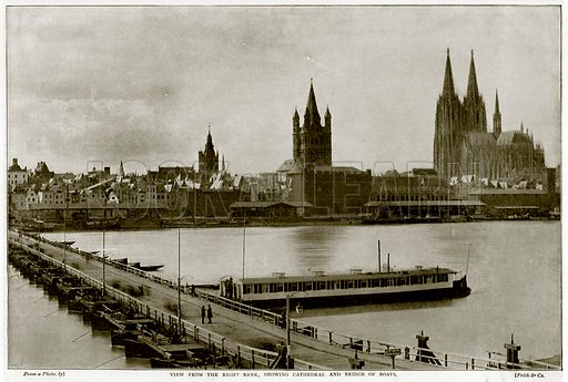 View from the Right Bank, showing Cathedral and Bridge of Boats. Photograph from Round the World (George Newnes, 1895).