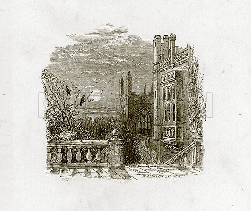 Ancient mansion in the moonlight. Illustration for Old English Ballads (Ward Lock, 1864).