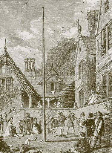 """""""They kept a brave old house at a bountiful rate."""" Illustration for Old English Ballads (Ward Lock, 1864)."""