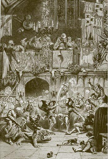 Merry Christmas. Illustration for Old English Ballads (Ward Lock, 1864).