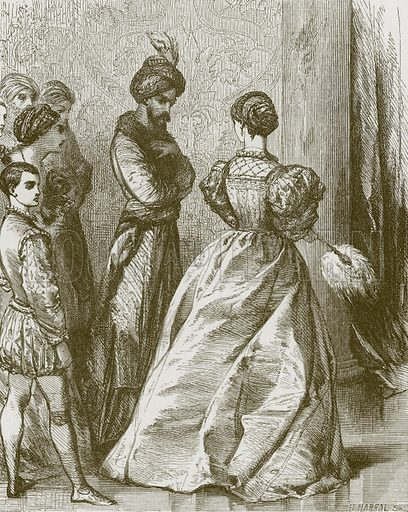 Alcanzor and Zayda. Illustration for Old English Ballads (Ward Lock, 1864).