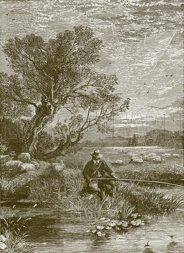 The Angler's Wish. Illustration for Old English Ballads (Ward Lock, 1864).