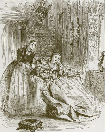 Lady Greensleeves. Illustration for Old English Ballads (Ward Lock, 1864).