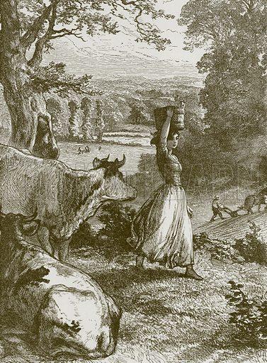 The Milkmaid's Life. Illustration for Old English Ballads (Ward Lock, 1864).
