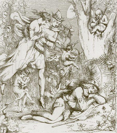 Robin Goodfellow. Illustration for Old English Ballads (Ward Lock, 1864).