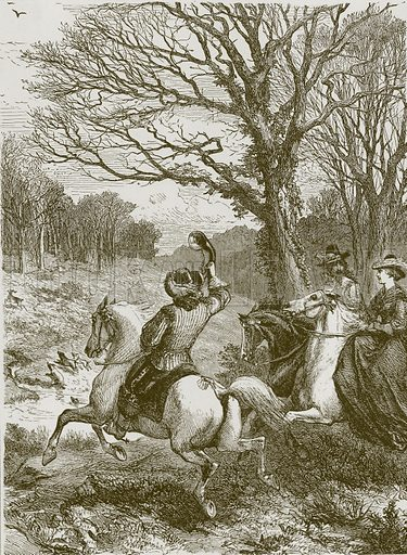 The stag hunt. Illustration for Old English Ballads (Ward Lock, 1864).