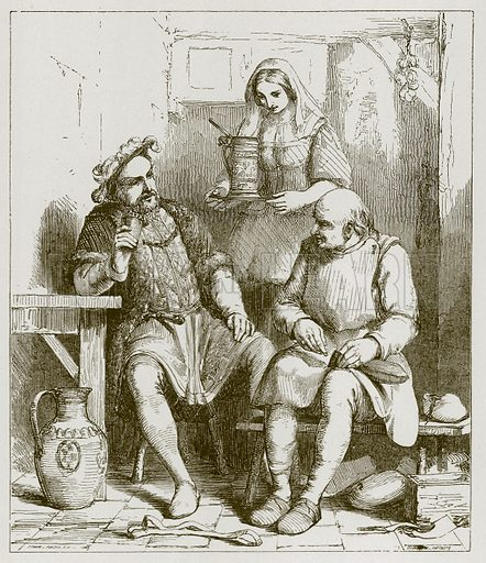 King Hal and the Cobbler. Illustration for Old English Ballads (Ward Lock, 1864).