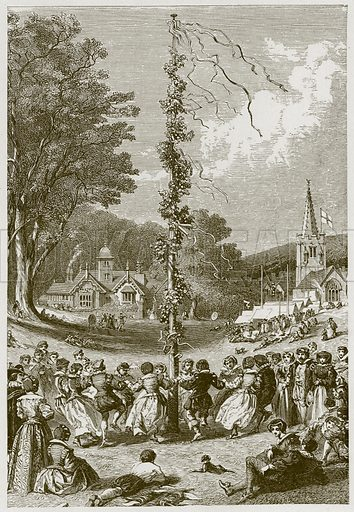 Come to the Maypole. Illustration for Old English Ballads (Ward Lock, 1864).