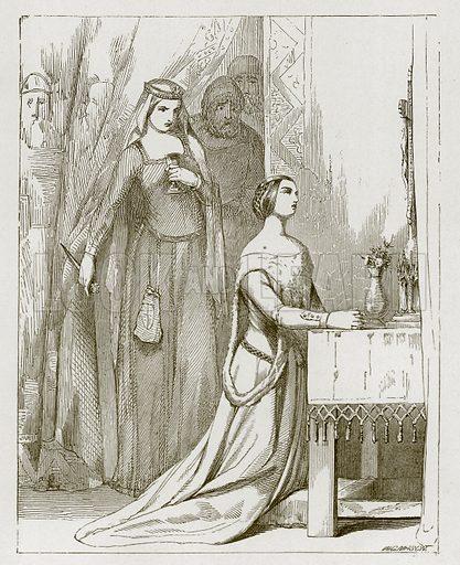 Fair Rosamond. Illustration for Old English Ballads (Ward Lock, 1864).