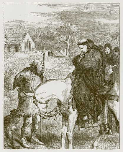 King John and the Abbot of Canterbury. Illustration for Old English Ballads (Ward Lock, 1864).