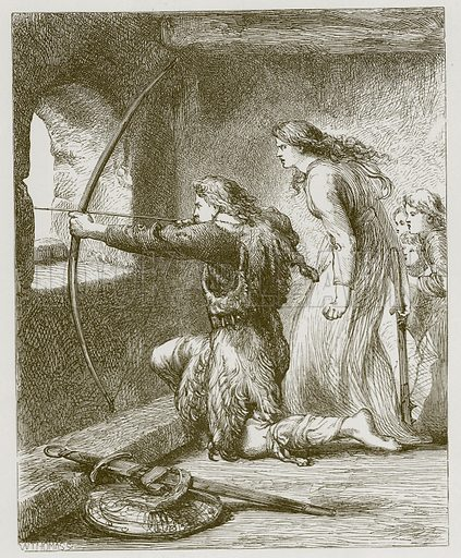 Adam Bell, Clym of the Cloughe. Illustration for Old English Ballads (Ward Lock, 1864).