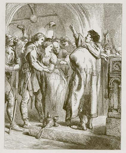 Robin Hood and Alin a Dale. Illustration for Old English Ballads (Ward Lock, 1864).