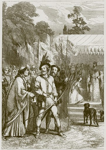 Robin Hood and Queen Katherine. Illustration for Old English Ballads (Ward Lock, 1864).