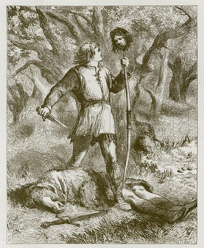 Robin Hood and Guy of Gisborne. Illustration for Old English Ballads (Ward Lock, 1864).