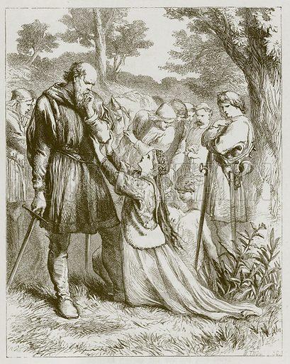 The Baron stroking his dark brown cheek. Illustration for Old English Ballads (Ward Lock, 1864).