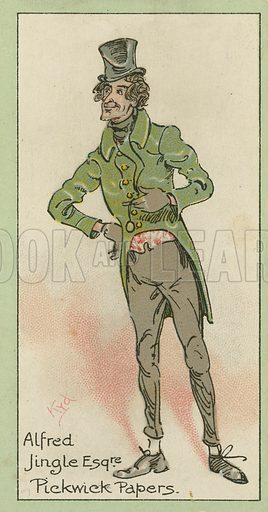 Alfred Jingle, Pickwick Papers. Characters from Dickens, cigarette cards published by John Player, early 20th century.