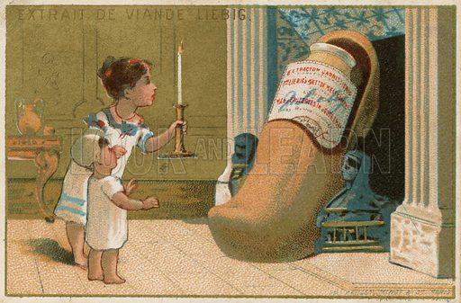 Children examining shoe containing Liebig extract.