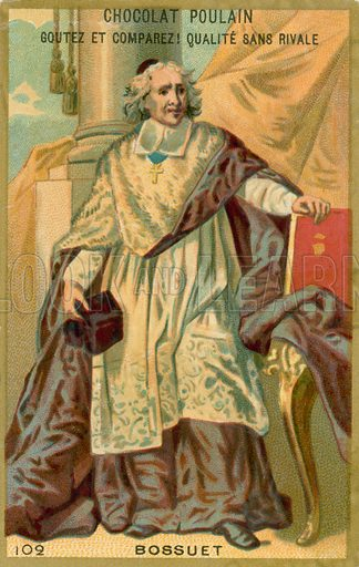 Jacques-Benigne Bossuet, French orator.  French educational card, c 1900.