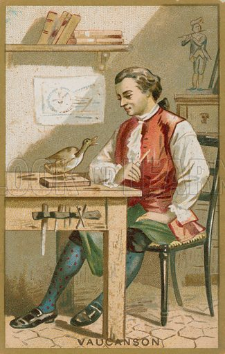 Jacques de Vaucanson. French educational card, late 19th century.