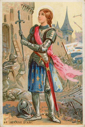 Joan of Arc.  French educational card, late 19th century.