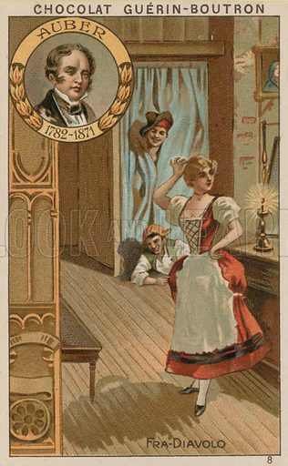 Auber, Fra Diavolo.  Card published by Guerin-Boutron, c 1900.  Chromolithograph.