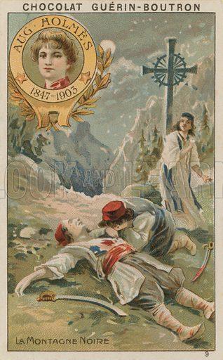Aug Holmes, La Montagne Noire.  Card published by Guerin-Boutron, c 1900.  Chromolithograph.