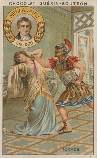 Mercadante, Horace.  Card published by Guerin-Boutron, c 1900.  Chromolithograph.