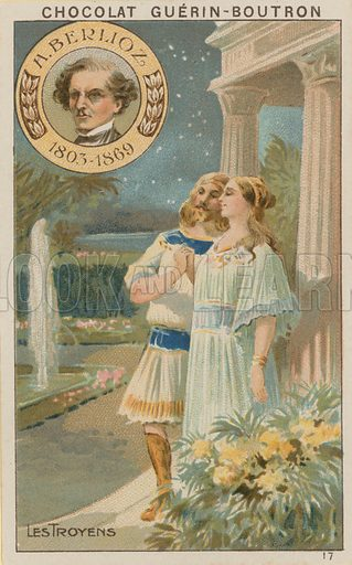 H Berlioz, Les Troyens.  Card published by Guerin-Boutron, c 1900.  Chromolithograph.