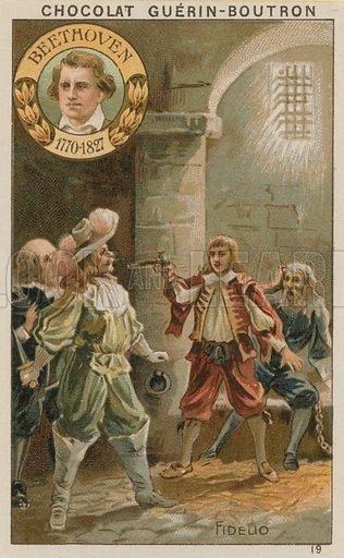 Beethoven, Fidelio.  Card published by Guerin-Boutron, c 1900.  Chromolithograph.