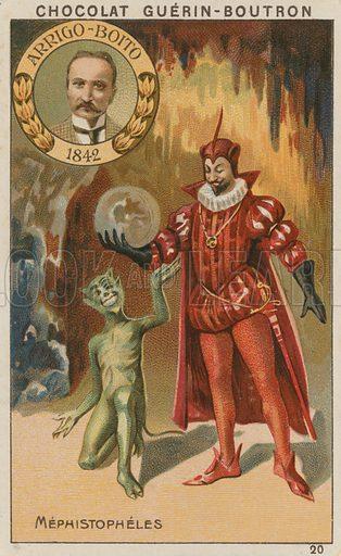 Arrigo-Boito, Mephistopheles.  Card published by Guerin-Boutron, c 1900.  Chromolithograph.