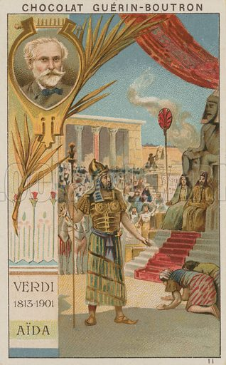 Verdi, Aida.  Card published by Guerin-Boutron, c 1900.  Chromolithograph.
