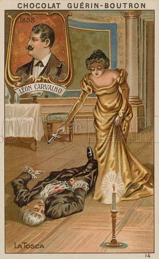 Leon Carvalho, La Tosca.  Card published by Guerin-Boutron, c 1900.  Chromolithograph.