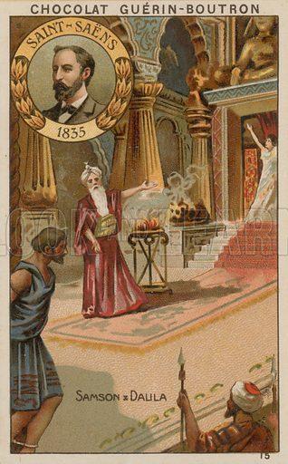 Saint-Saens, Samson et Dalila.  Card published by Guerin-Boutron, c 1900.  Chromolithograph.