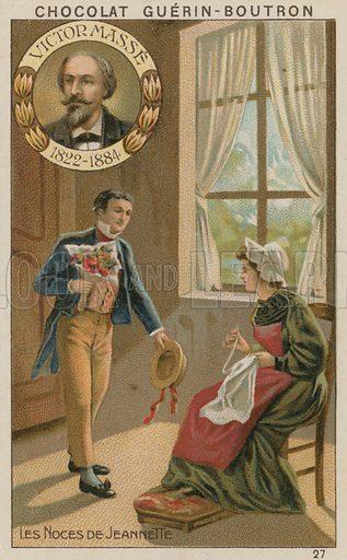 Victor Masse, Les Noces de Jeannette.  Card published by Guerin-Boutron, c 1900.  Chromolithograph.