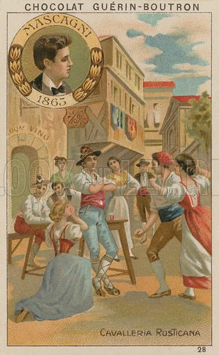 Mascagni, Cavalleria Rusticana.  Card published by Guerin-Boutron, c 1900.  Chromolithograph.