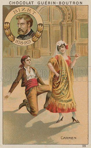 Bizet, Carmen.  Card published by Guerin-Boutron, c 1900.  Chromolithograph.