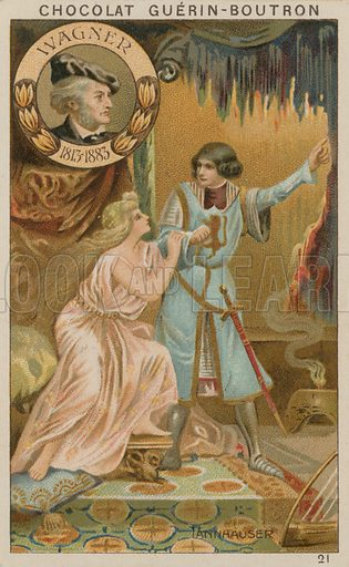 Wagner, Tannhauser.  Card published by Guerin-Boutron, c 1900.  Chromolithograph.