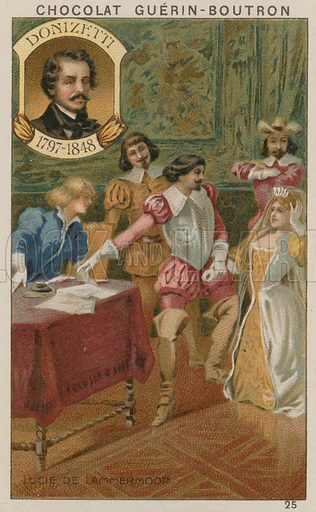 Donizetti, Lucie de Lammermoor.  Card published by Guerin-Boutron, c 1900.  Chromolithograph.