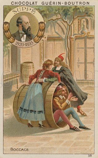 Suppe, Boccace.  Card published by Guerin-Boutron, c 1900.  Chromolithograph.