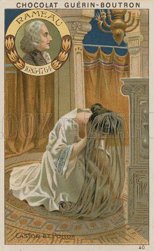 Rameau, Castor et Pollux.  Card published by Guerin-Boutron, c 1900.  Chromolithograph.