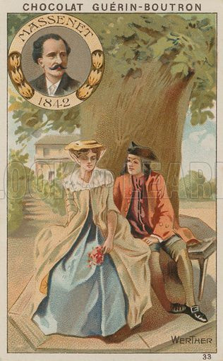 Massenet, Werther.  Card published by Guerin-Boutron, c 1900.  Chromolithograph.