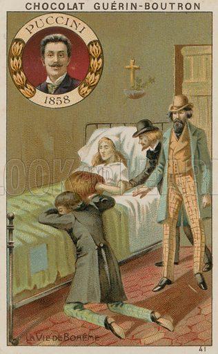 Puccini, La Vie de Boheme. Card published by Guerin-Boutron, c 1900.  Chromolithograph.