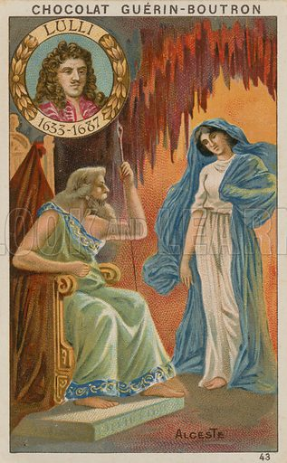 Lulli, Alceste.  Card published by Guerin-Boutron, c 1900.  Chromolithograph.