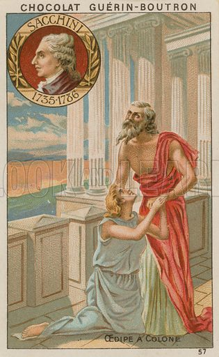 Sacchini, Oedipe a Colone.  Card published by Guerin-Boutron, c 1900.  Chromolithograph.