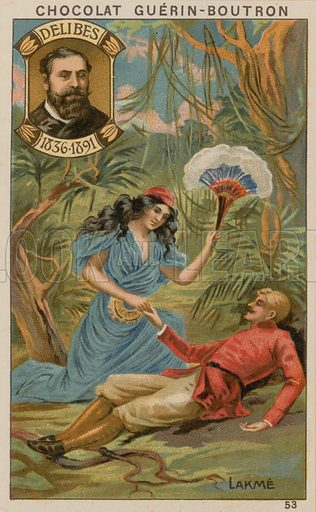Delibes, Lakme.  Card published by Guerin-Boutron, c 1900.  Chromolithograph.